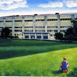 Watercolored Painting of Allen Field House at University of Kansas