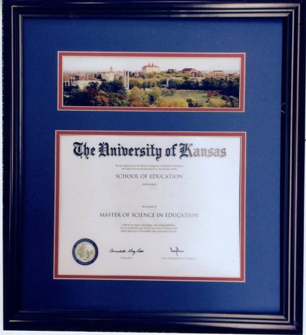 KU Collectible Diploma With Campus Skyline