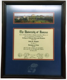 KU Collectible Diploma With Campus Skyline Etched