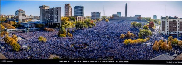 Union Station View of Royals Parade Crowd with Buildings in Background - All Wearing Blue