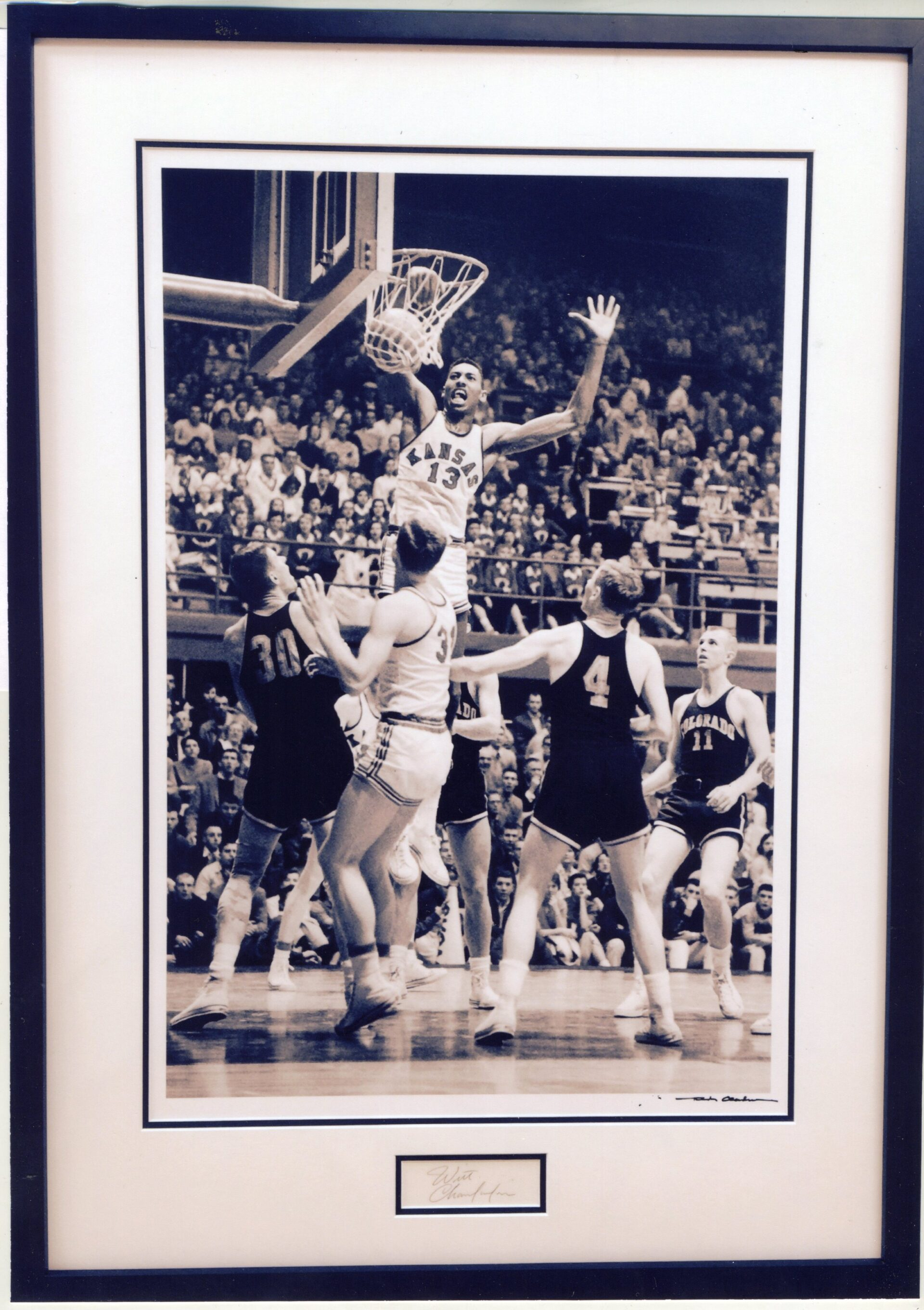 Wilt Chamberlain Kansas University Dunk Photograph While Being Defended