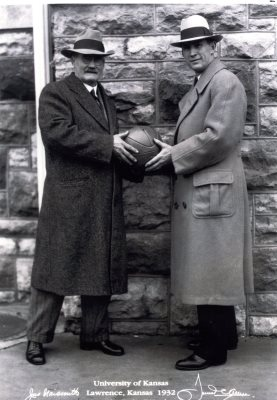 Black and White Photo James Naismith & Phog Allen Holding Basketball Together