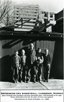 James Naismith with Four Boys Standing Below Homemade Wood Frame Hoops
