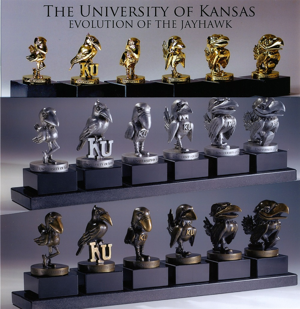 The University of Kansas - Evolution of the Jayhawk: Statues of Different Styles of KU Jayhawk Mascot