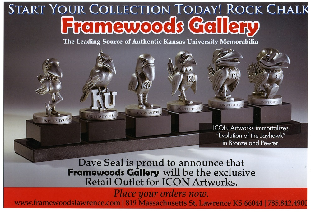 """KU Jayhawk Statues - """"Start your Collection Today"""" Framewoods Gallery is the exclusive retail outlet for ICON artworks"""