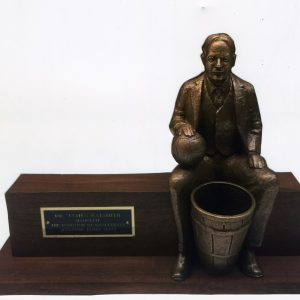 James Naismith Bronze Macquette/James Naismith Sitting on Bench with Basketball and Basket, Vintage Macquette